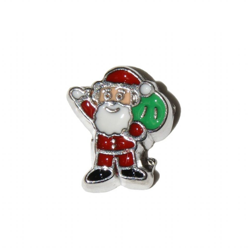 Sack Of Toys : Father christmas with sack of toys mm floating locket charm